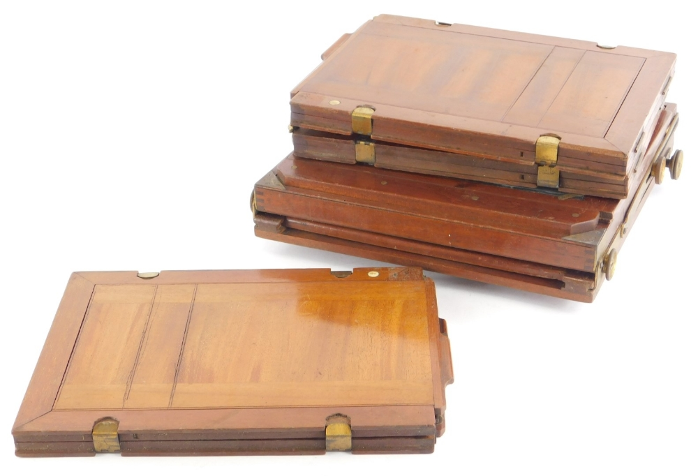 Various mahogany and brass vintage photographic equipment, etc.