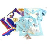 Various masonic aprons, to include an example relating to Christopher Lodge number 2309 presented by