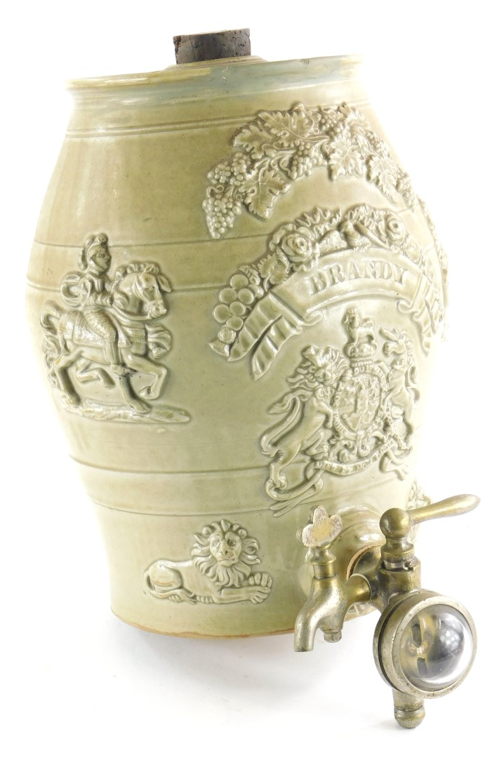 A 19thC stoneware brandy barrel, with brass tap, stamped Bobies Patent, 32cm high.