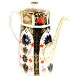 A Royal Crown Derby porcelain coffee pot and cover, decorated with the 1128 Imari pattern, 23cm