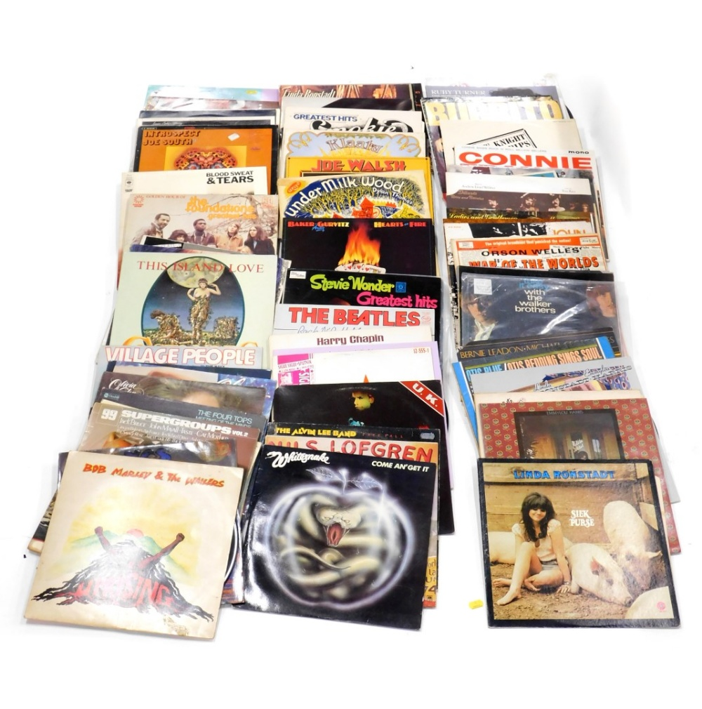 A quantity of LP records, to include White Snake, Yes, Gary Clail, Under Milk Wood by Dylan
