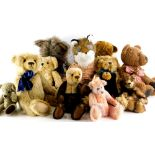 A quantity of teddy bears, etc., to include a Russ vintage edition pink teddy bear, others by Russ