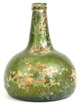 An 18thC green glass onion shaped wine bottle, signs of excavation, 19cm high. Reports are no longer
