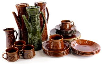 A collection of Saxony Ellgreave pottery, to include two coffee pots, various dinner plates, side