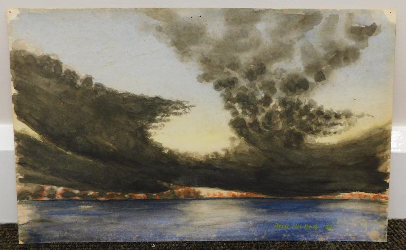 •Brett Hilder (1911-1981). Landscape British Solomon Islands, watercolour, signed and dated (19) - Image 2 of 4