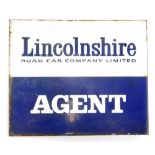 A two sided enamel sign for the Lincolnshire Road Car Company Limited Agent, 30cm x 25.5cm. .