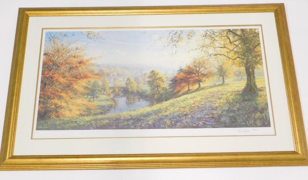 After Rex N. Preston. River landscape, artist signed limited edition print, number 35/500.