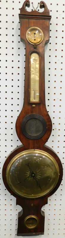 A mid 19thC wheel barometer, stamped D. Rivolta Edinburgh, in a mahogany case with brass dials,