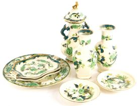A collection of Masons green Chartreuse ironstone, to include a vase and cover, pair of vases, etc.