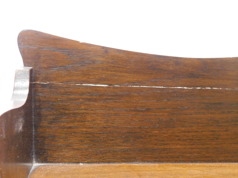 An Edwardian oak and chequer banded students desk, with a pierced crest, a fall enclosing a fitted - Image 2 of 2