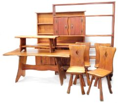 A late 20thC bespoke Parana pine dining room suite, in the Arts and Crafts style, comprising
