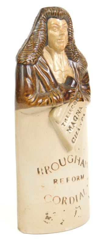 A 19thC Brougham stoneware reform cordial flask, modelled holding the second Magna Carta, impress