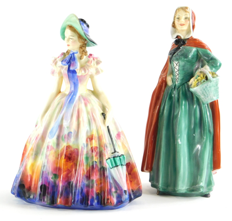 Two Royal Doulton porcelain figurines, of Jean HN2032, 19.5cm high, and a figure of Easter Day. (
