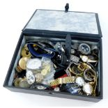 A group of wristwatches, mainly gent's, wristwatch parts, frames, front pieces, etc. (1 box)