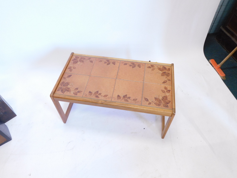 A teak rectangular coffee table, with a brown glaze tile top, 84cm wide. - Image 2 of 2