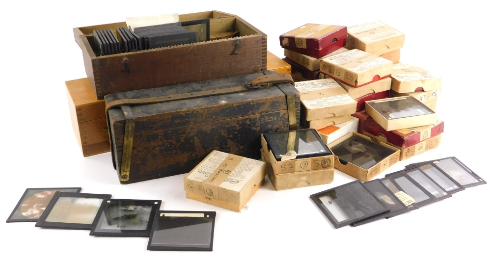 A quantity of Victorian and later magic lantern slides, to include portraits, early 20thC of Sussex,