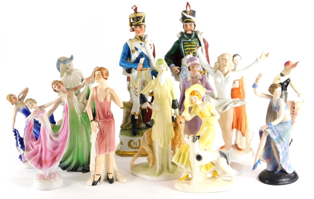 A collection of porcelain figures, mainly in the Art Deco style, to include a Goebel figure. (AF)