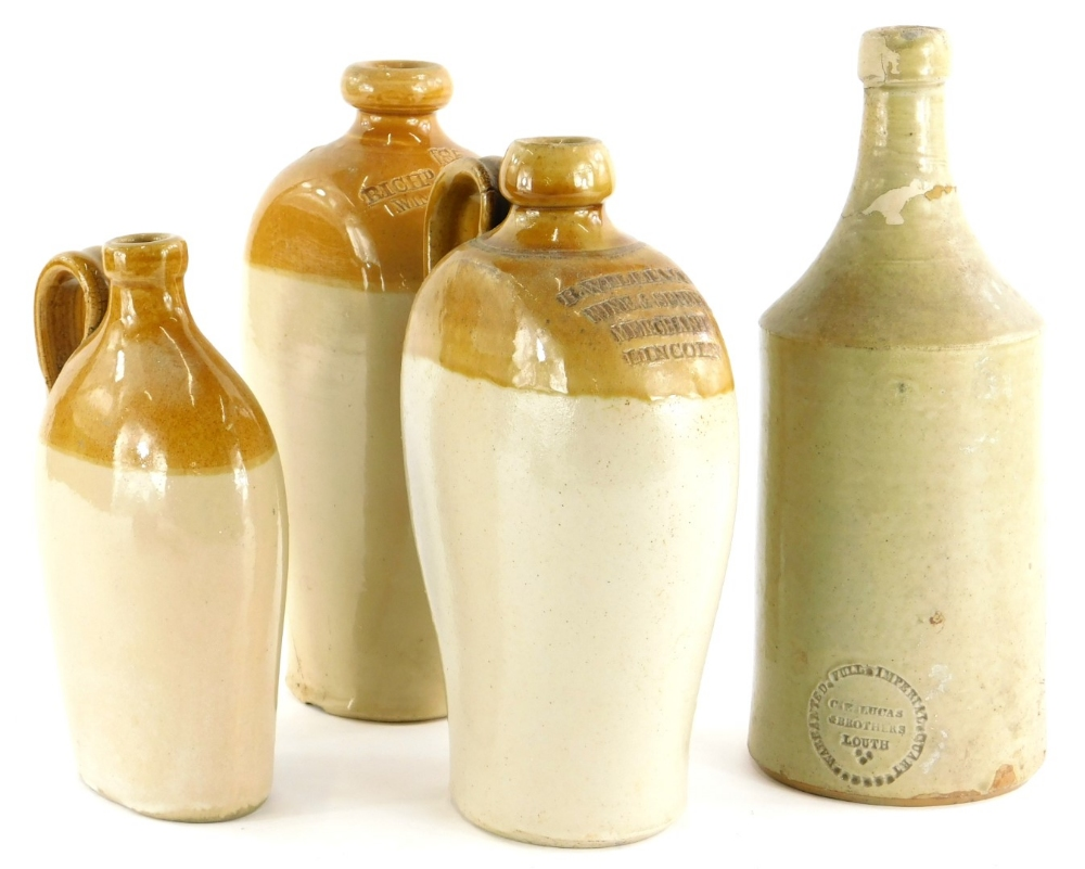 A collection of stoneware, to include a Lucas Brothers, Louth beer bottle, a flagon stamped B.