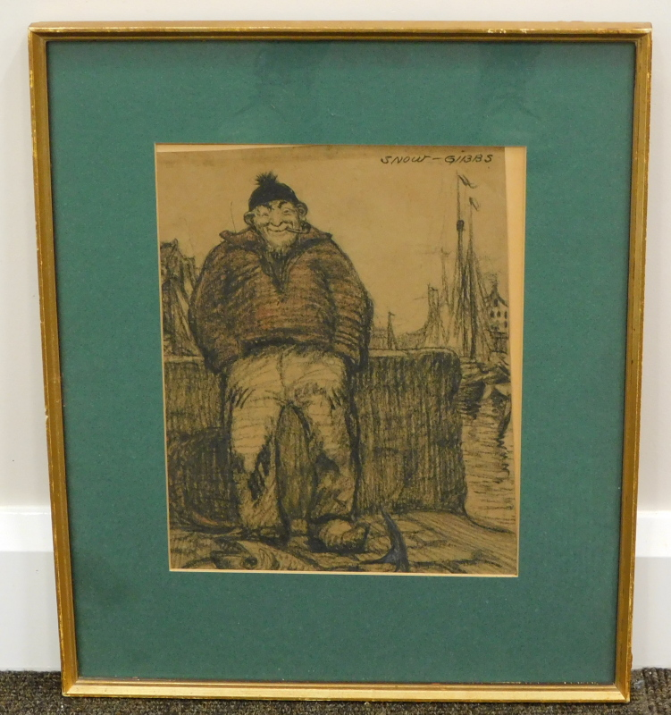 •Ralston Gibbs (1882-1970). Figure of a fisherman seated smoking pipe before masts, pencil, - Image 2 of 4
