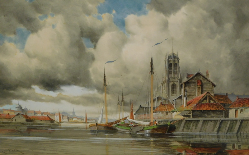 Louis van Staaten (1836-1909). Dutch townscape and boats drying sails before spire and buildings,