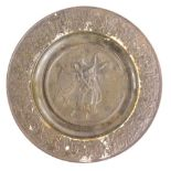 A 19thC bronzed cast iron Grand Tour type plate, cast in relief with an angel and a putto, with a