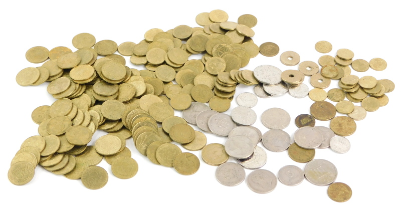 A quantity of foreign coins.