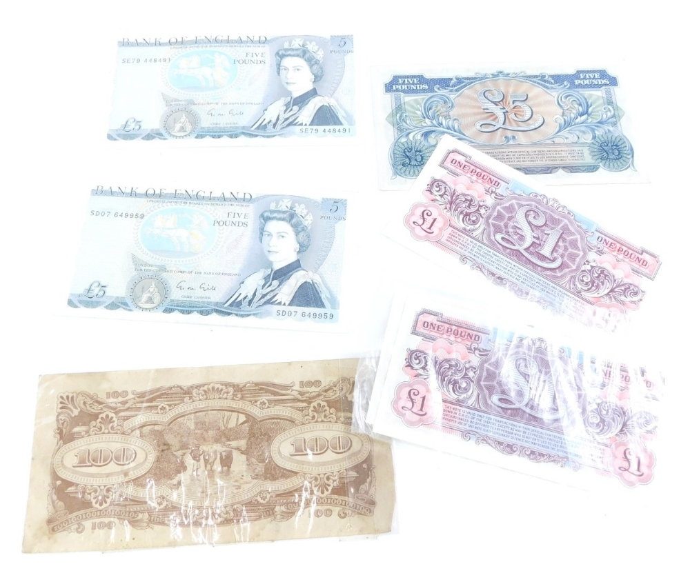 Two Bank of England £5 notes, Chief Cashier Gill, A Japanese Government 100 dollar note, and various