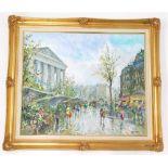 Salvadore Demone (b1928). Paris street scene, oil on canvas, 50cm x 60cm.