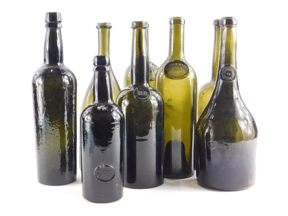 A collection of 19thC and 20thC wine bottles, to include Chateau Lafite 1903, Pichon 1905, R.B, etc.