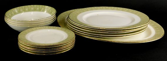 A Royal Doulton Sonnet pattern part dinner service, to include five dinner plates, oval meat dish,