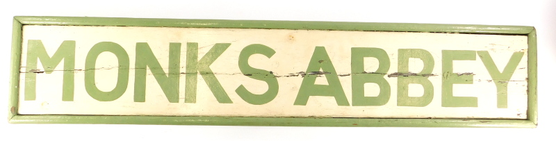 A railway sign for the Monks Abbey Lincoln signal box, repainted in green on a cream ground, 103cm