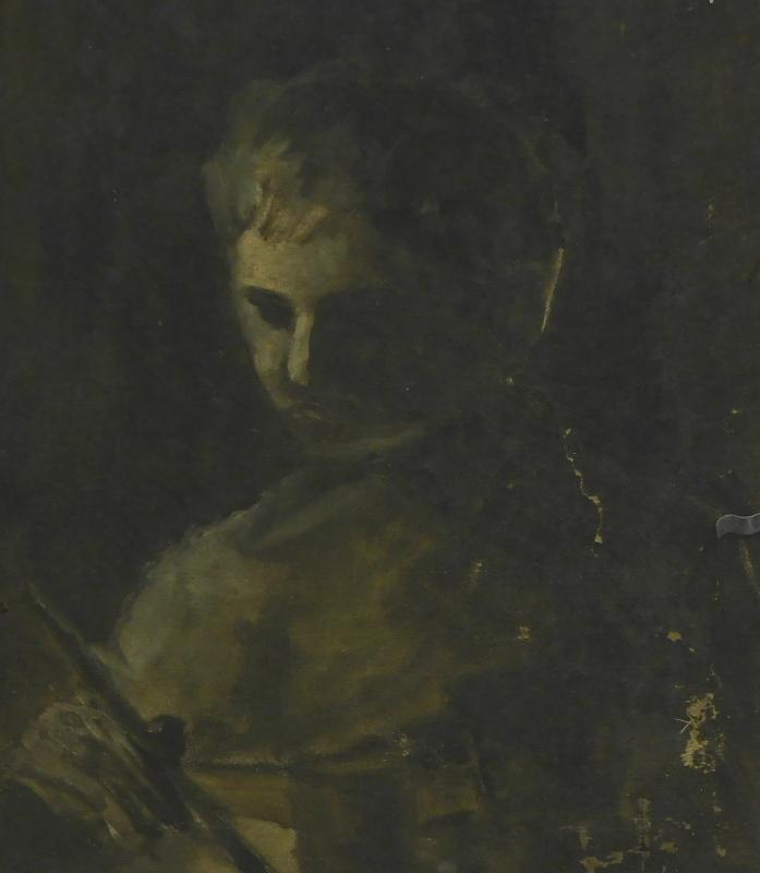 19thC/20thC School. The painter, oil on canvas, 35.5cm x 28cm.