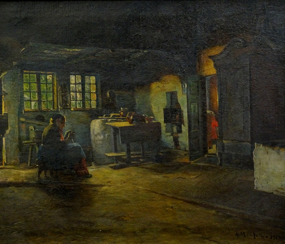 Anders Montan (1845-1917). Old lady in cottage interior, oil on canvas, signed and dated 1912, 56.
