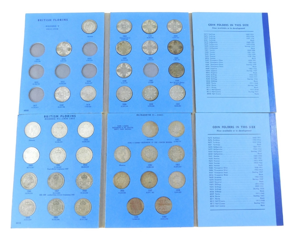 A quantity of florins, to include some silver, albums incomplete.