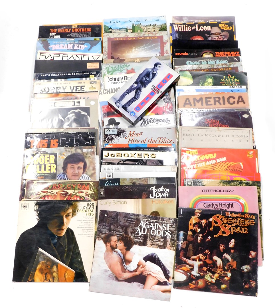 A quantity of LP records, to include The Pogues, Bob Dylan, Joe Cocker, Bee Gees, Gap Band, Jonathan