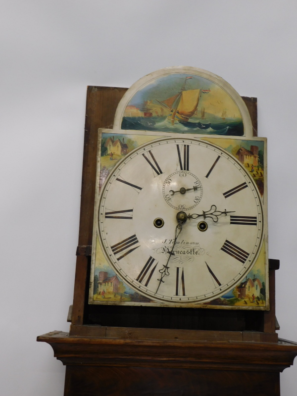 J. Tomlinson, Horncastle. A mid 19thC longcase clock, the arch dial painted with shipping scenes, - Image 3 of 4