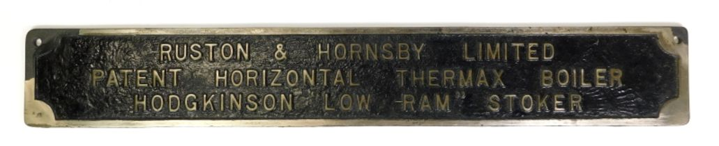 An engineering cast metal plaque for Ruston and Hornsby Limited, patent horizontal Thermax boiler,