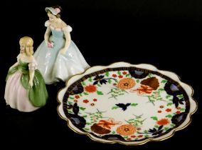 Two Royal Doulton figures of Penny and The Bridesmaid, and a Shelley Imari patterned plate decorated