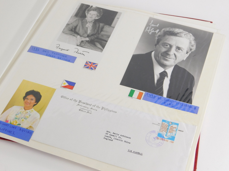An album containing political photographs, to include some bearing the signatures of Margaret - Image 2 of 7