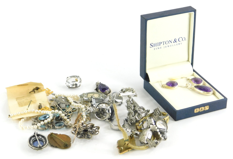 A group of costume jewellery, to include a Shipton & Co necklace and earring set, silver stone set