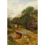 Charles Blacklock (1878-c.1893). Landscape with fisherman approaching a river crossing, titled Nr