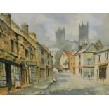 •20thC School. Lincoln Steep Hill, watercolour, indistinctly signed, 38cm x 51cm.