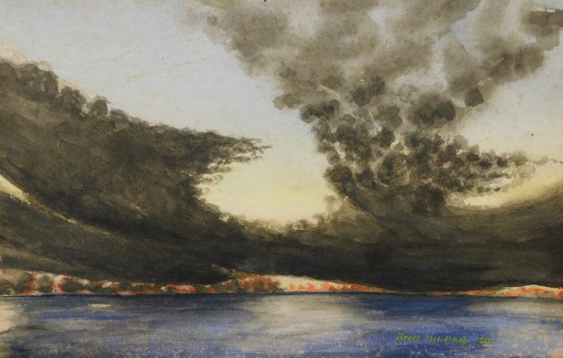 •Brett Hilder (1911-1981). Landscape British Solomon Islands, watercolour, signed and dated (19)
