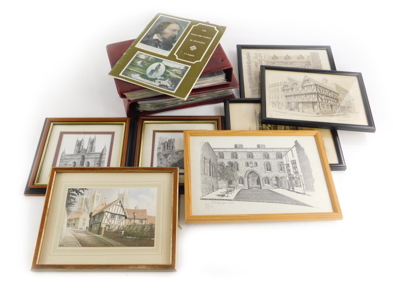 A quantity of early 20thC and later postcards, prints of Lincoln, etc.