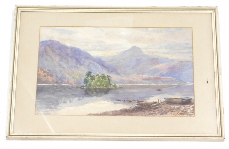 •William Ralph Burrows (20thC). English School. Lakeland landscape figure in a boat before islands