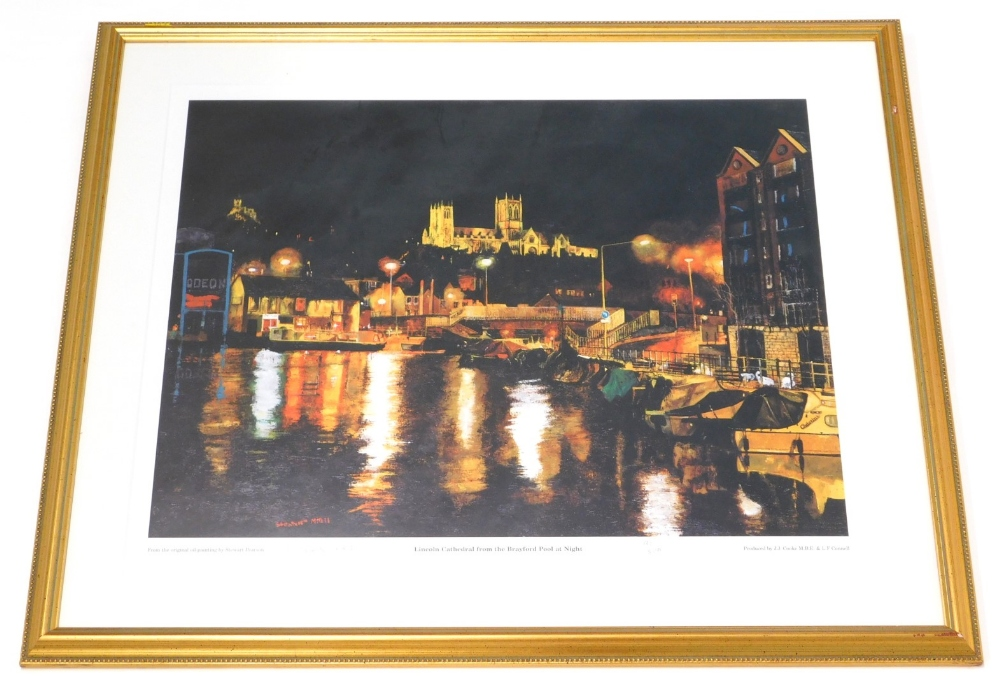 After Stuart Pearson. Lincoln Cathedral from the Brayford at night, artist signed limited edition