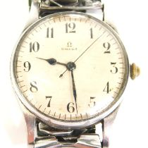An Omega Air Ministry gentleman's wristwatch, with a white dial with Arabic numerals, stainless