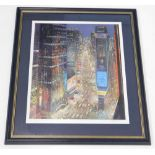 After Peter Ellenshaw. Times Square, New York, artist signed limited edition print, 309/950, 51cm
