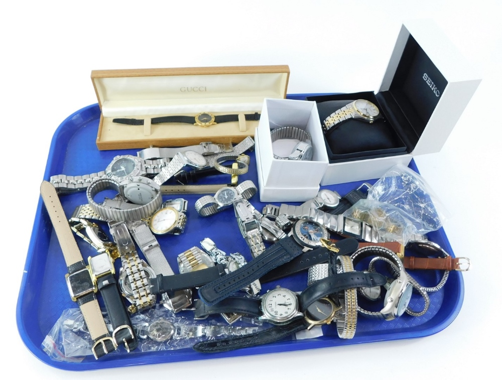 A group of modern wristwatches, to include Seiko, Life Time and various others,