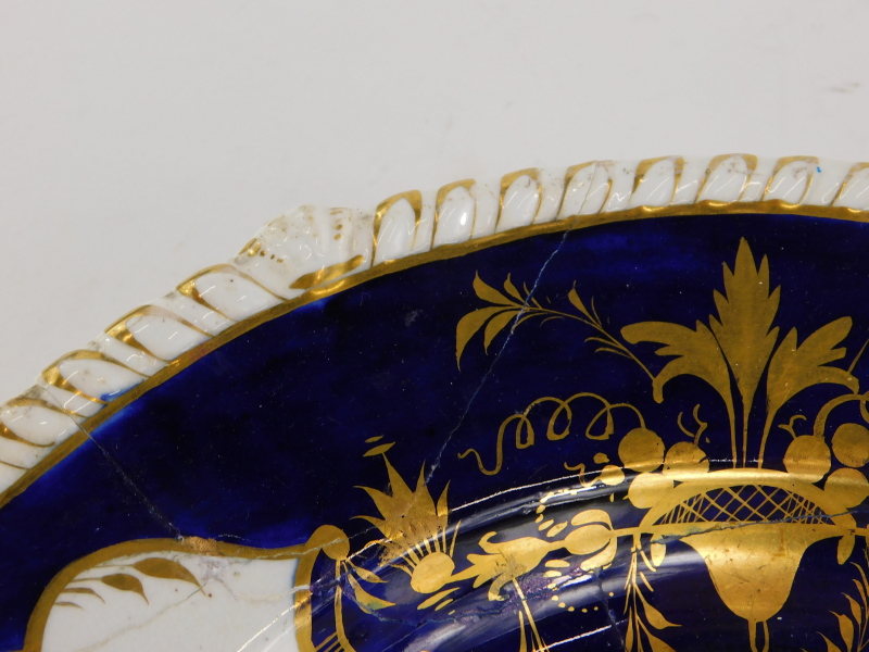 An early 19thC Derby porcelain meat dish, painted with flower sprays on a cobalt blue ground, ( - Image 2 of 4